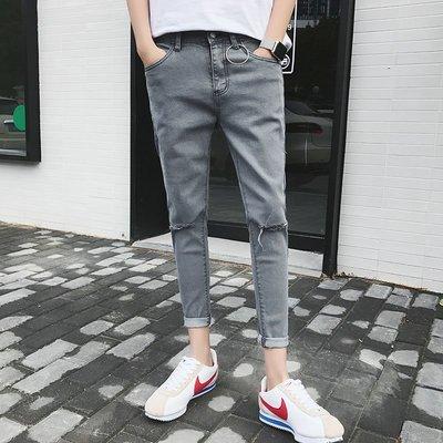 Chita Man + 韓版 破膝刀割 釦環 修身 鉛筆褲 三色 2入1600