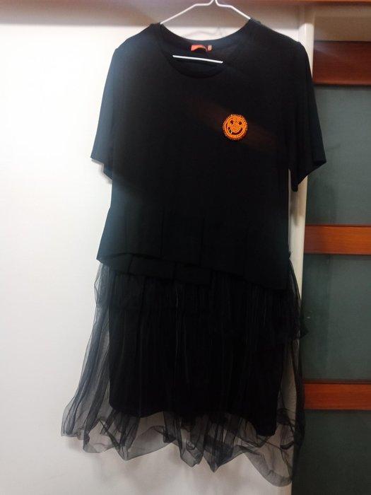 黑色 棉質短袖洋裝下擺外加黑紗