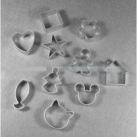 【模具套裝-餅乾蛋糕-10款】曲奇餅乾模具 小慕斯圈 鳳梨酥模 10款套裝烘焙工具-8001003