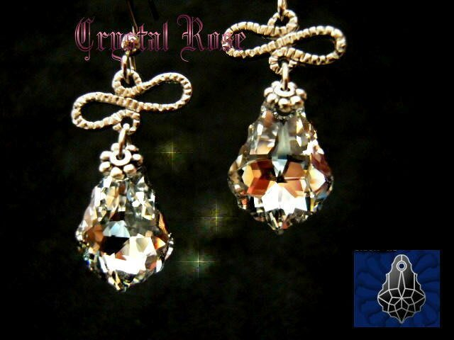 ※水晶玫瑰※ SWAROVSKI 巴洛克水晶 耳勾式耳環(DD130)~僅此一對