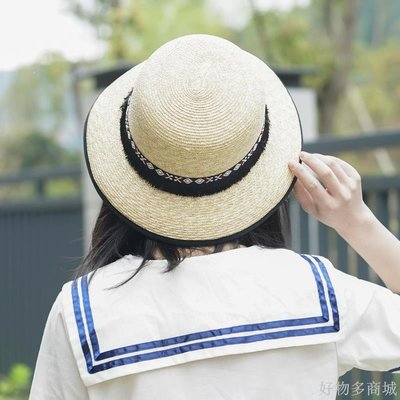 好物多商城 民族風復古織帶細編織麥稈大檐帽圓頂盆帽草帽遮陽帽沙灘帽夏天
