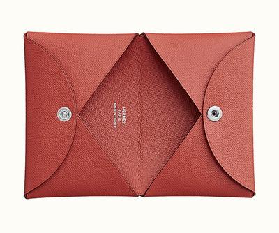 [現貨/預購]Hermes Calvi Cardholder 名片夾 卡夾  Madame Sanguine 橘粉色 最新皮質