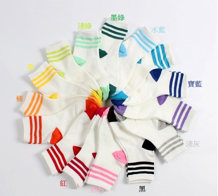 ❤QQ好貨❤日韓同步流行動運風 春夏 男女短襪(三線條紋) 棉襪 船襪 BF01