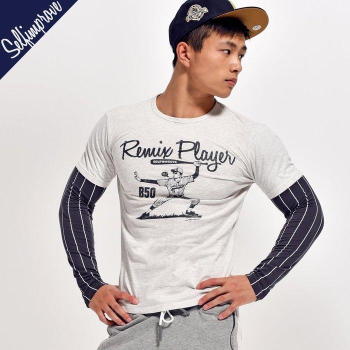 【OTOKO Men's Boutique】固制:秋冬雙截袖棒球風格長T/淺灰色