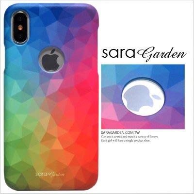 客製化 手機殼 iPhone X 8 7 Plus 硬殼 簍空 三角漸層彩虹【J0920004】