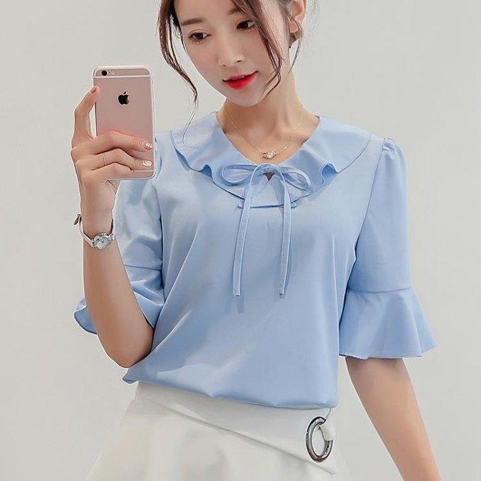 春夏新款韓國女裝修身大尺碼打底衫短袖襯衫女素面雪紡衫S-XL【全館八五折任搶】