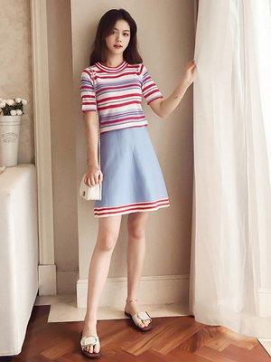 俏皮時尚套裝少女夏2018新款條紋短袖針織T恤a字半身裙兩件套B561