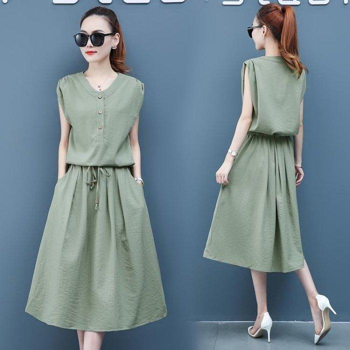 棉麻洋裝 棉麻連身裙2020年夏季新款女裝牛油果綠長裙收腰顯瘦氣質流行裙子 站CXZJ