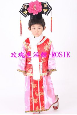【玫瑰生活館】~~ 小童格格裝, 小中班幼稚園表演服 90-105cm鬆緊帶旗帽