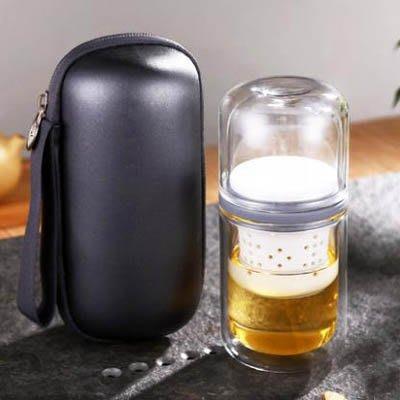【玻璃陶瓷快客杯-一壺二杯-1套/組】旅行茶具套裝迷你便攜包式戶外功夫泡茶杯-7201010