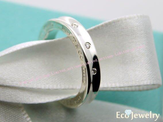 《Eco-jewelry》【Tiffany&Co】1837bvlgari款側鑲三鑽純銀925戒指三種尺寸~專櫃真品已送洗