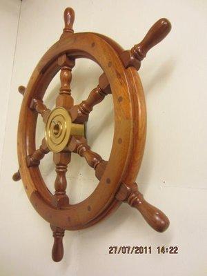 【航海王禮贈品專賣店】(新)24英吋山毛櫸木六角船舵~方向船舵,船藝品,收藏裝飾擺設