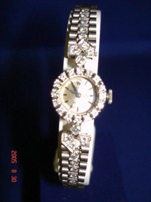 *(博物館級)* 真品1950s古董,女用貴族訂製手錶 18K白金勞力士.女鑽錶~品項極佳99%新~完美的品相~