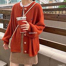 ✿Lu girl 自制鐵銹紅毛衣開衫女日系學生簡約式復古文藝法式慵懶風針織衫外套服JU19