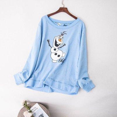 ☆°╮VS流行館╭°☆美國進口迪士尼Disney正品◎冰雪奇緣Frozen超可愛雪寶純棉長袖T恤上衣(M號)