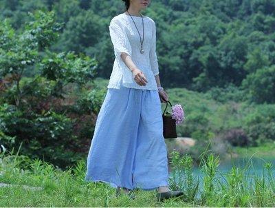 (老銀屋)夏季新款双層天絲棉優雅飄逸闊腿裤