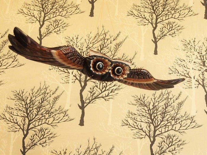 南洋風貓頭鷹飛翔木雕(大),附有吊繩,東南亞師傅客製化商品🌟最特別的禮物都在奧爾思🌟