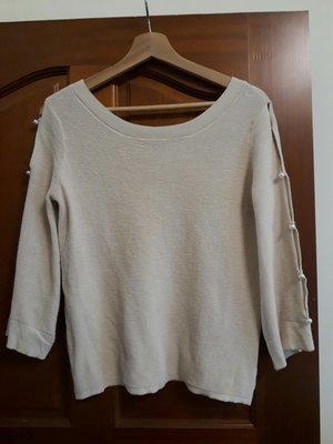 le polka 萊卡弗M號米色針織七分秀袖上衣