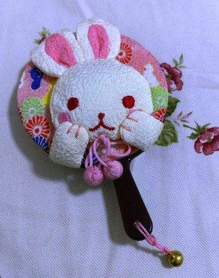 龍廬-自藏出清~日式和風拼布招喜物語-可愛賣萌小黃兔子隨身手拿鏡 /手鏡只有一個