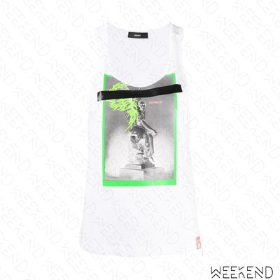 【WEEKEND】 DIESEL T-Oak 印圖 低胸 無袖 背心 白色