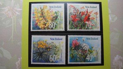 【大三元】紐澳郵票-101紐西蘭 -花-1989年發行-新票4全1套- 原膠上品