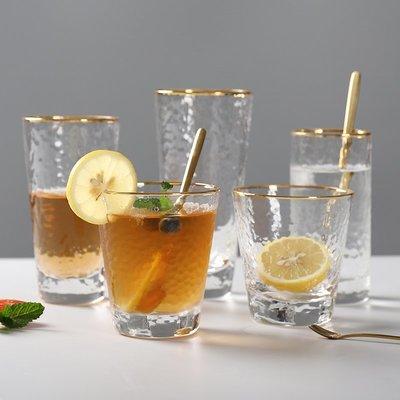 千禧禧居~日式金邊錘目紋玻璃杯果汁飲料牛奶冷飲玻璃杯加厚耐熱家用茶水杯