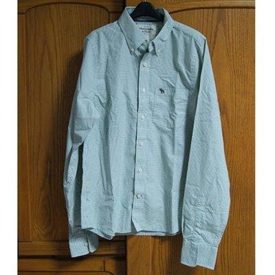 美國AMPM【現貨S122】AF / A&F 男版Sawteeth Mountain  藍綠格紋長袖襯衫 L號