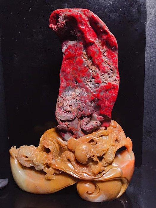 極品昌化老坑濃血系列精品全血大紅袍擺件——飛龍在天 幾乎全血,整個一個血球了