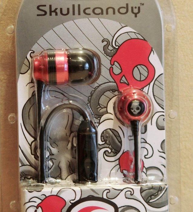 大降價!全新 Skullcandy INK'D 金屬紅色有麥克風耳塞式耳機,送禮自用皆宜!低價起標無底價!免運費!