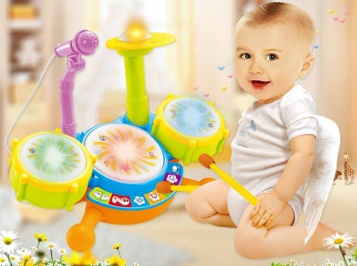 新款多功能兒童動感爵士鼓/拍拍鼓~有燈光音效~附麥克風~可調高低~音樂早教玩具◎童心玩具1館◎
