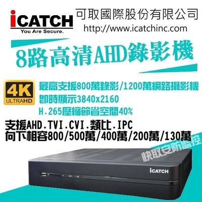 可取 H.265 KMH-0825EU-K 8路錄影主機 7IN1 DVR 可取 8路1聲音 ICATCH DUHD