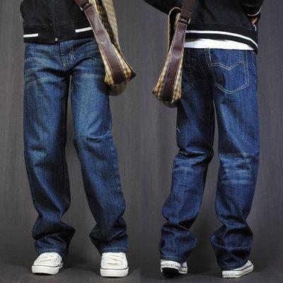胖人專賣 春秋款牛仔褲男士直筒寬松大碼加肥款長褲子韓版潮中腰胖子粗腿vskf