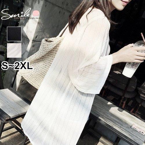 【V1895】SMILE-秋日時尚.透視網紗寬鬆中長款開衫外套