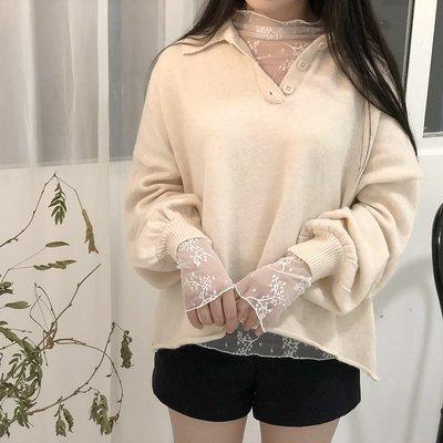 女裝上衣 內搭打底衫秋冬款透視網紗白色長袖刺繡蕾絲上衣女學生寬松打底衫罩衫潮