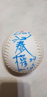 84年03月19 壘球比賽指定用球  御象  江泰權 21號 曾智偵22號 簽名