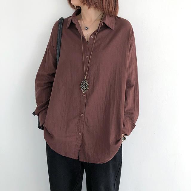 【T12959】1B21袖排扣雙層棉襯衫5色F.預購。小野千尋