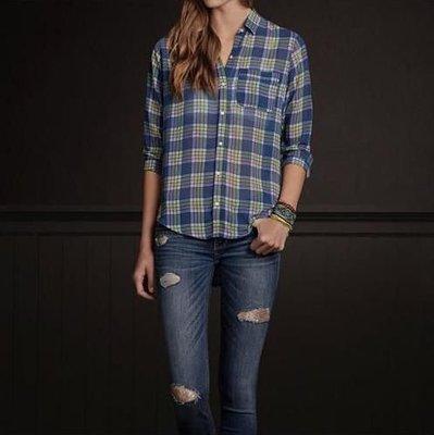 美國HOLLISTER 女裝PEARL STREET SHIRT S號時尚薄質格紋襯衫(小寬鬆easy fit)含運在台