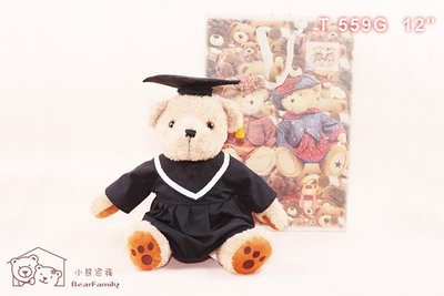 坐姿30公分 全身45公分 棕色畢業生泰迪熊+【小熊手提袋】博士熊 畢業服~*小熊家族*~ 泰迪熊專賣店 ~