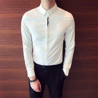 長袖襯衫 純色基本款門襟樹葉刺繡正韓修身簡約百搭男士休閒長袖素面襯衫