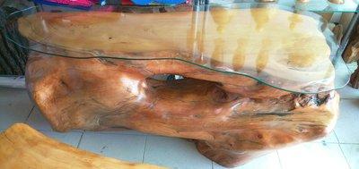 台灣黃檜一體桌樹頭樹根扁柏HINOKI原木桌/泡茶桌/餐桌瘤花美閃花外加免運費