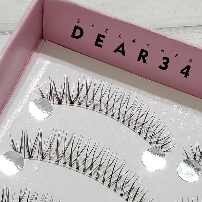 《Dear34》極細磨尖02透明梗眼中長V形根根分明一盒十對價