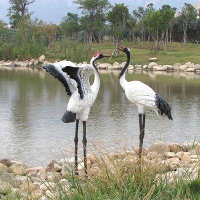 公园装饰仿真仙鶴擺件樹脂工藝品戶外假山園林水池裝飾丹頂鶴雕塑動物擺設公主殿下