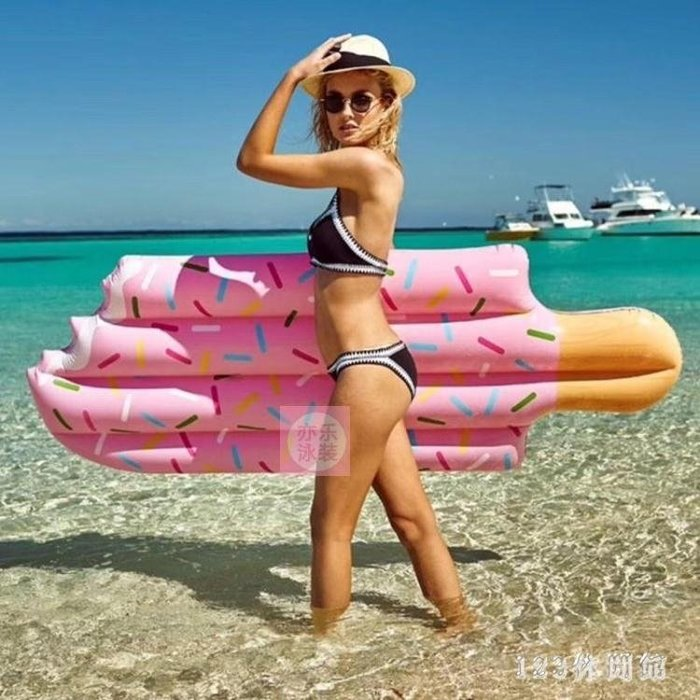 游泳浮床 攝影道具水上成人粉色雪糕充氣浮排藍色冰棒浮床游泳圈夏日裝備LB16278【全館免運】