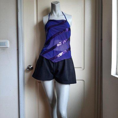 【Bjs啵古着】80年代美國品牌Rampage鑲亮片藍紫色繞頸絲紗小可愛-XS