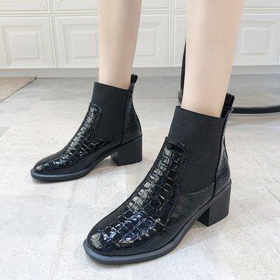 保暖女鞋 機車靴 馬丁靴 時尚百搭帥氣馬丁靴女英倫風ins百搭中跟粗跟短靴女秋冬單靴