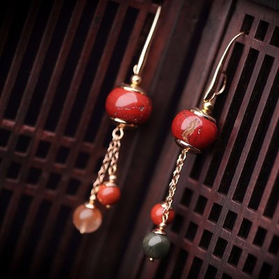 【睿智精品】復古時尚 福祿壽 紅石盤珠耳環 民族風 高貴典雅(GA-0812)