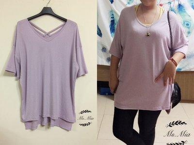 Ms.Mia 後背交叉長版T恤(淺紫) 正韓