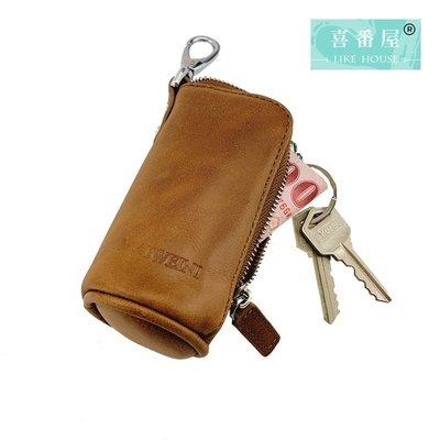 【喜番屋】真皮頭層牛皮復古大容量腰掛汽車遙控鑰匙包鑰匙套鑰匙圈皮套【KB49】