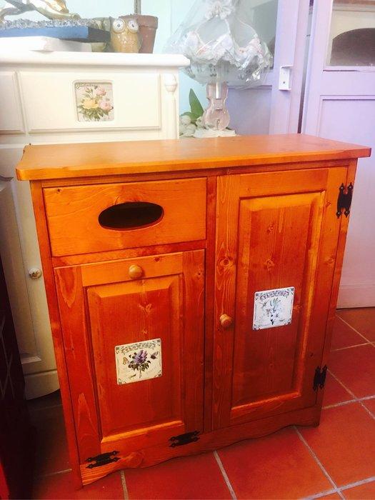 收納櫃 鄉村風全實木瓷磚一抽單門鞋櫃 玄關櫃 垃圾桶置物櫃 層板可活動調整