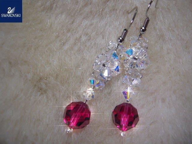 ※水晶玫瑰※ SWAROVSKI 地球珠水晶 耳勾式耳環(DD378)